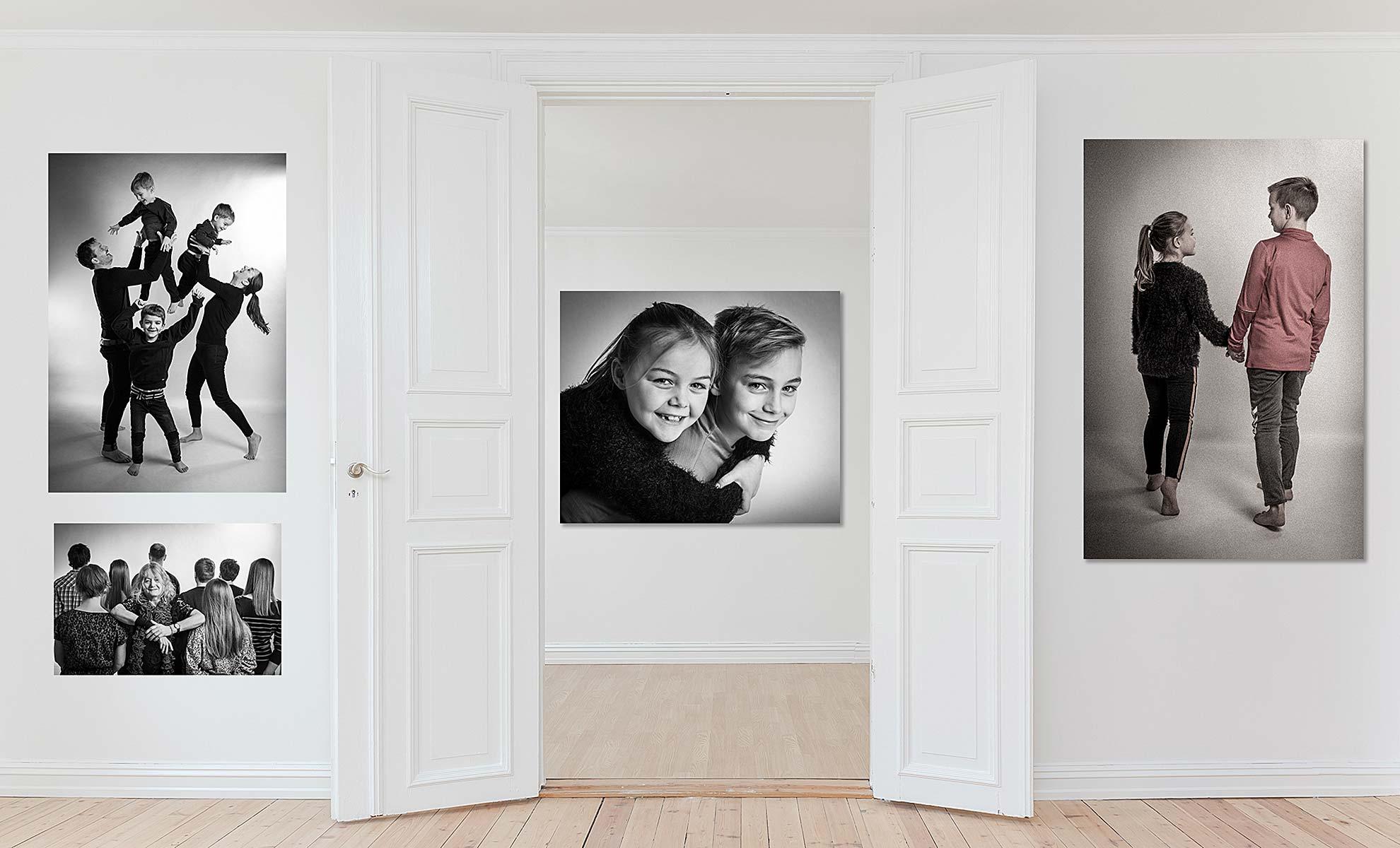 Fotografens flotte familie-billeder i eget hjem gør din bolig skøn, varm og personlig.